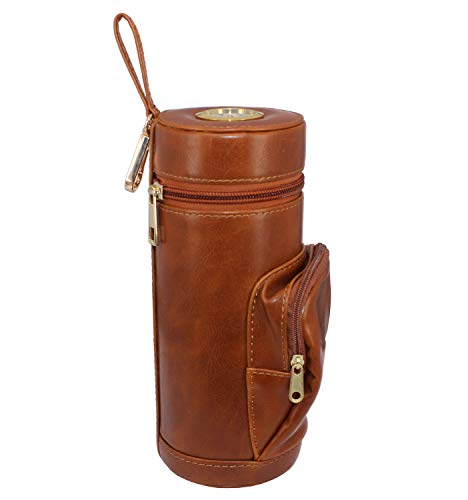 AMANCY Upgrade Cedar Wood Lined Portable Travel Leather Cigar Humidor Case with Pocket,Easily Carry Lighter and Cutter