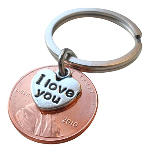 I Love You Heart Charm Layered Over 2010 US One Cent Penny Keychain, 8 Year Anniversary Gift, Birthday Gift, Couples Keychain - One Cent Penny