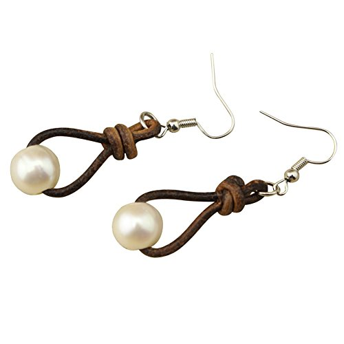 Designer Leather Earrings (White Pearl Earring Genuine Leather Drop Pendant Dangle Earrings)