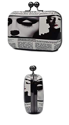 Print personnalisé verni bandoulière en bandoulière cuir sac Ladies B embrayage une paquet soirée FZHLY boîte de fqE5wT