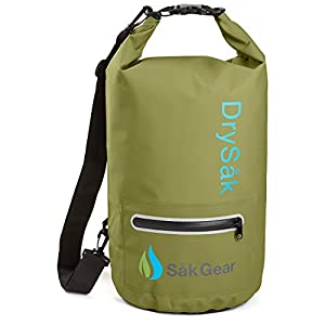 DrySak Premium Waterproof Dry Bag with Exterior Zip Pocket | Keeps Gear Safe & Dry During Watersports & Outdoor Activities | Rugged 500D PVC with Shoulder Strap & Reflective Trim | 10L Army Green