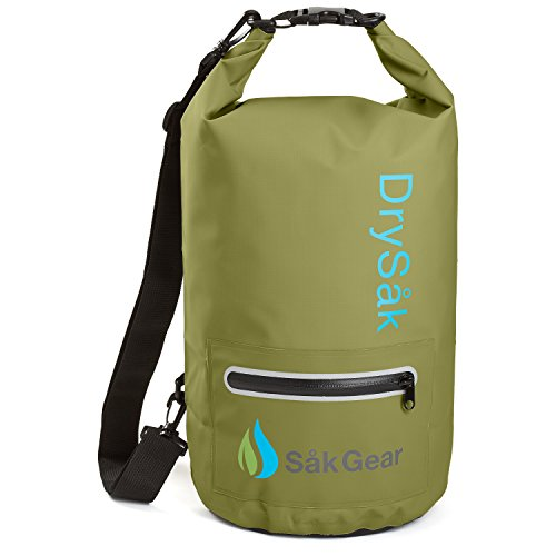 proof Dry Bag with Exterior Zip Pocket | Keeps Gear Safe & Dry During Watersports & Outdoor Activities | Rugged 500D PVC with Shoulder Strap & Reflective Trim | 10L Army Green (Green Fishing Accessories)