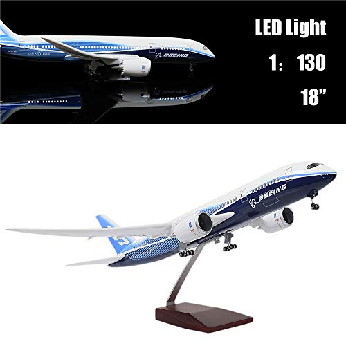 "- 24-Hours 18"" 1:130 Scale Model Jet Boeing 787 Aircraft Model Kits Display Diecast Airplane for Adults with LED Light(Touch or Sound Control)"