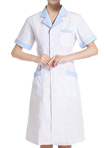 Nanxson Damen Kurzarm Krankenschwester Arztin Medizin Kittel Uniform Mantel ME0005 Weiß PP7SG