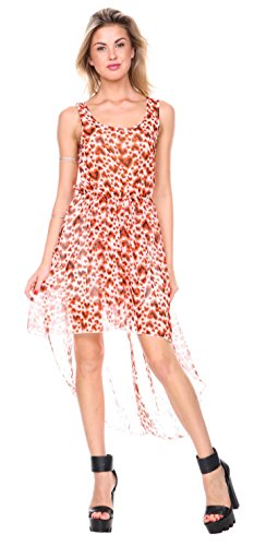 Stanzino Women's Printed Chiffon Tank Asymmetrical Dress