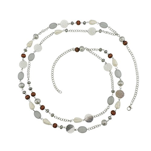 BOCAR 14K Gold Plated Link Chain 2 Layer Crystal Wood Acrylic Colorful Women Party Long Necklace Gift (10084-grey)