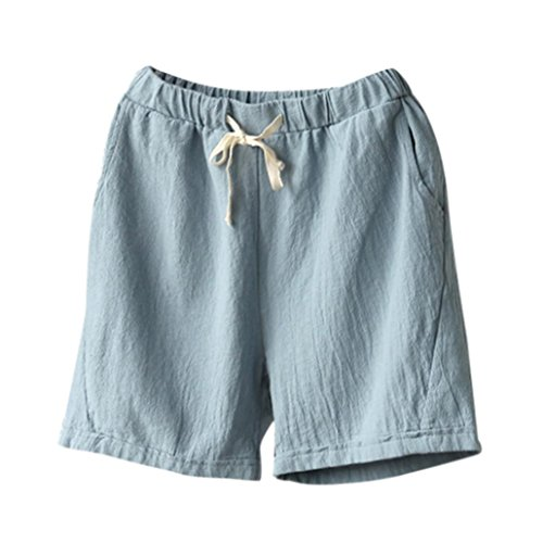 Summer Clearanc!Women Casual Cotton Linen Shorts Elastic Waist Slim Lady Short Pants by-NEWONESUN Light Blue