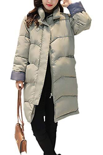 Huixin Mujer Plumas Elegante Color Sólido Colmar Cálido Pluma Otoño Invierno Modernas Chaqueta Acolchada Largos Manga Larga High Collar Cremallera Abrigos Abrigos Invierno Verde