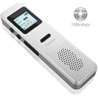 Voice Recorder,Valoin Professional 8G Digital Audio Recorder Dictaphone with MP3 Player,USB Rechargeable,Metal Body,One Button for Recording (Silver-A)