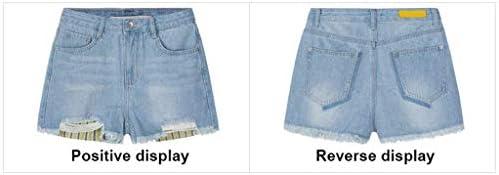 Chunjiao Shorts Vrouwen Summer Wear hoge taille Loose Een woord was dun Hot Pants Jeans wijde pijpen broek mode Modieuze spijkerbroek (Color : Light Blue, Size : 27)
