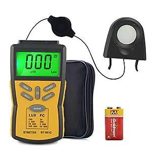 BTMETER Digital Illuminance Light Meter BT-881C,Lumen/FC Photometer,Luxmeter Sensor Measure 0.1~200000 Lux Lights,Bright…