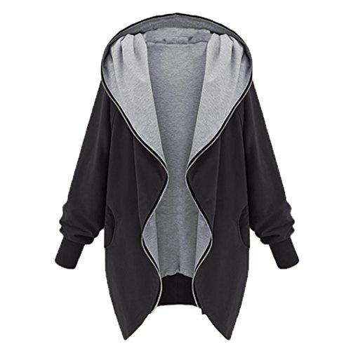 Automne Hiver Femme Outwear Long Manteau Vrac Cardigan Veste Manteaux Tops Sweat-shirts Blouson  Capuche Irrgulier Zip Jacket Noir