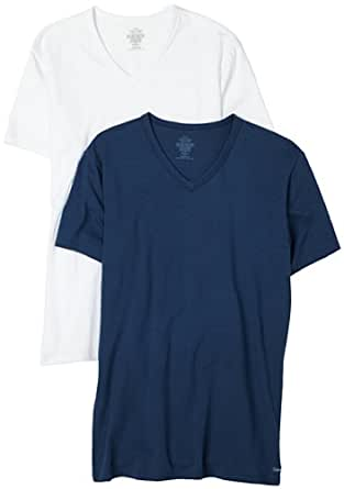 Calvin Klein Mens Stretch 2 Pack V-Neck Top, Belo/White, X-Large