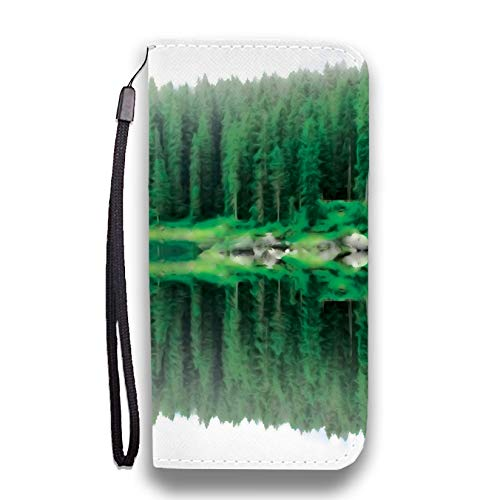 Mirror Forest Phone Wallet Flip Case - Vegan Friendly Leather   for iPhone, Huawei, LG, Google Pixel and Samsung Galaxy   Phone Strap and RFID - Plain Wilderness Mirror