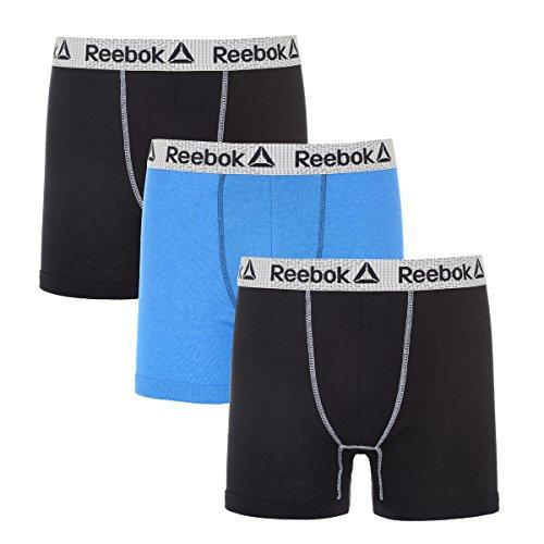 Reebok Mens 3 Pack Cotton Boxer Briefs (Pouch) Black/Vital Blue Heather/Black L
