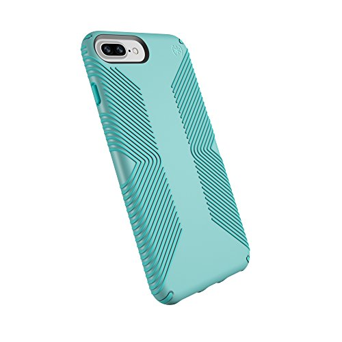 Speck Products Phone Case Compatible with Apple iPhone 8 Plus (Also fits 7 Plus and 6S Plus/6 Plus), Presidio Grip Case, Surf Teal/Mykonos Blue - Case Fit Phone