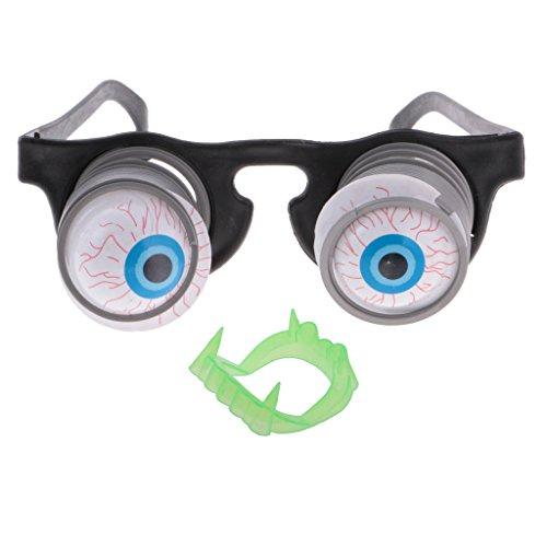 Googly Eyes Halloween Costume (MagiDeal 2x Pop Out Eyeglasses Droopy Eye Spring Glasses Halloween Costume Party Joke)