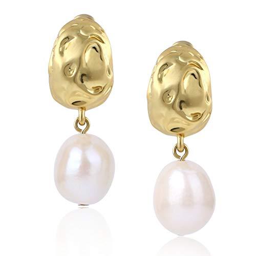 (14K Gold Plated Vintage Freshwater Pearl Teardrop Dangle Stud Earrings for Women Girls)