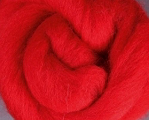 Corriedale Wool Roving One Ounce Pink and Red Colors for Felting and Spinning (Red)