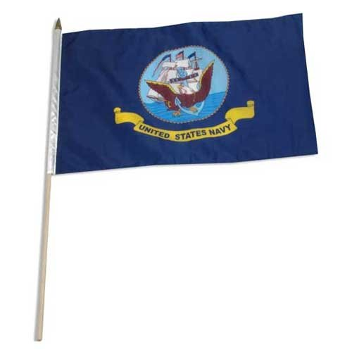 Us Navy Flags Pennants (US Flag Store 12-Inch by 18-Inch Navy Flag Mounted on 24-Inch Wooden)