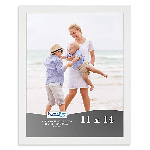 Icona Bay 11x14 Picture Frame (1 Pack, White), White Sturdy Wood Composite Photo Frame 11 x 14, Wall or Table Mount, Set of 1 Exclusives Collection (Wedding Picture Frames 11 X 14)
