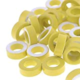 ERTIANANG 50pcs T50-26 Yellow White Ring Iron Ferrite Toroid Cores 7.5mm Inner Diameter For Inductors