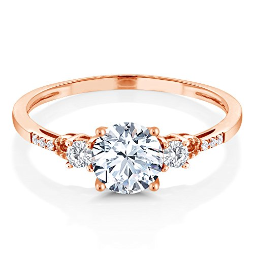 10K Rose Gold Hearts And Arrows White Created Sapphire Ring (1.34 Ct Round; Available in size 5, 6, 7, 8, 9)
