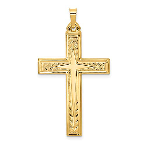- 14K Yellow Gold Engraved Cross Pendant
