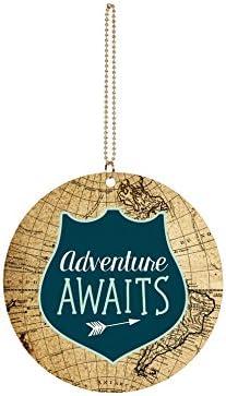 P Graham Dunn Adventure Awaits Globe Circle 3 x 3 Wood Hanging Car Dangle Charm