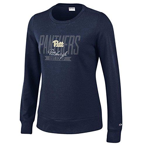 Champion NCAA Pittsburgh Panthers Women's University Fleece Crew, Small, Navy
