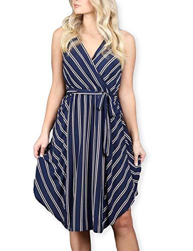 AOOKSMERY Women Casual Summer Stripes V-Neck Sleeveless Midi Dress with Belt - Slip Bias