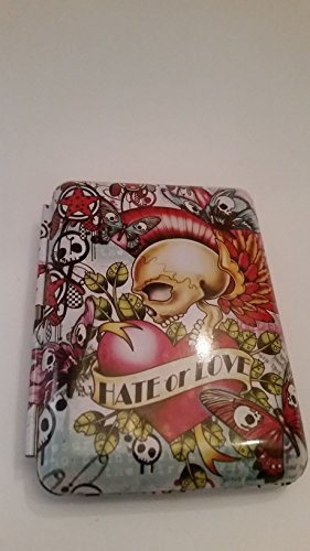 Very colorful tattoo style Skulls with Butterflies! Hate or Love. Cigarette case, Credit card, business card case (Preowned) small rust spot in left tin (Tattoo Skull Pic compare prices)