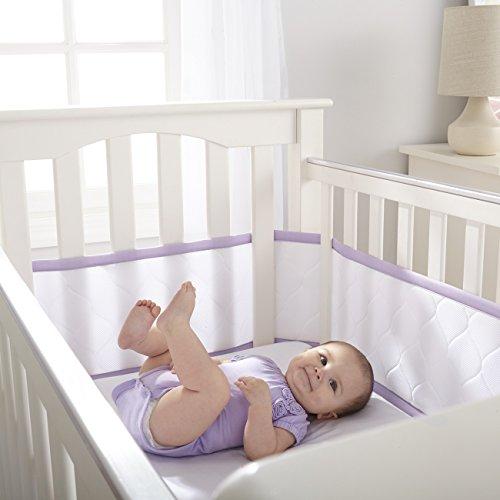 UPC 811283021640, BreathableBaby Deluxe Embossed Mesh Crib Liner, White/Lavender