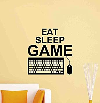 Amazon.com: Eat Sleep Game Wall Decal PC Keyboard Mouse Video Gaming ...
