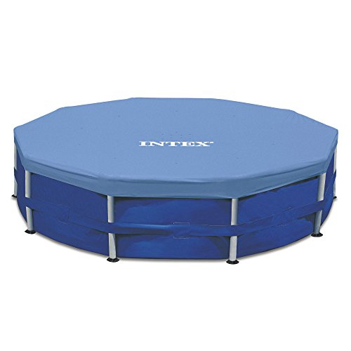 Intex Round Metal Frame Pool Cover, Blue, 15 ft]()