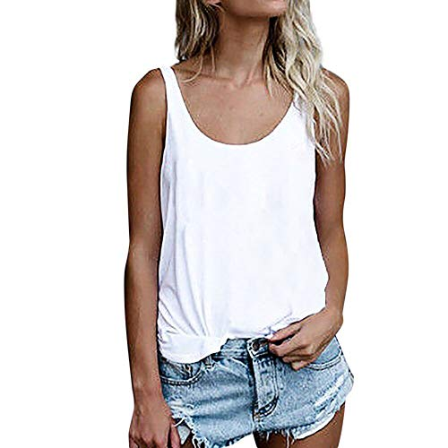 (OMSJ Women Shirts Sleeveless Summer Tunic Loose Fit Tank Tops (XXL, Solid White))