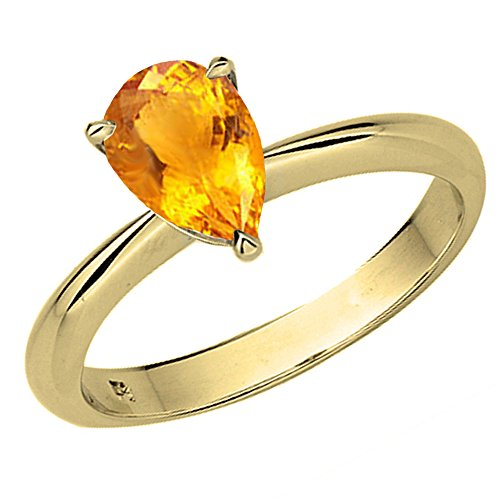 Dazzlingrock Collection 14K 9X7mm Pear Cut Citrine Ladies Solitaire Bridal Engagement Ring, Yellow Gold, Size 10