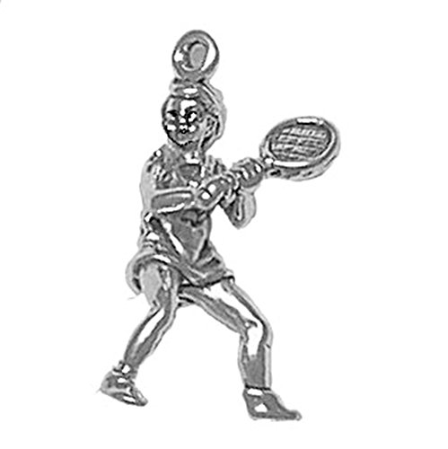 925 Sterling Silver Classic Wimbleton Open Female Tennis Player Charm For Bracelet/Necklace ()