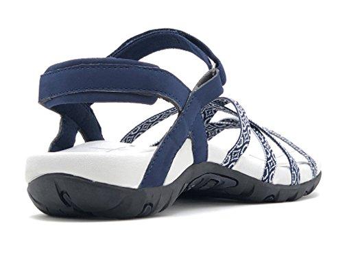 Outdoors Width �c Blue Viakix Athletic Sandals Walking Comfortable Stylish Hiking Women medium For Shoes Water Beach xxw6vqnTA