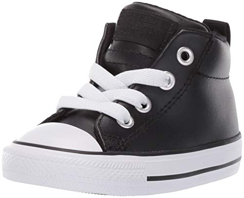 Converse Boys Infants' Chuck Taylor All Star Street Mid Top Sneaker Black/White, 9 M US Toddler (All Star Converse For Baby Boy)