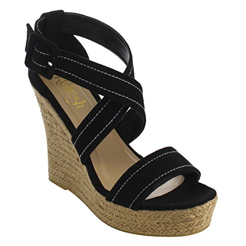 Refresh IE53 Women Stitched Criss Cross Strap Espadrille Platform Wedge Sandals, Color:BLACK, Size:6.5 (Espadrille Sandals Platform Wedge)