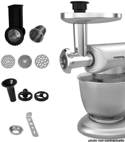 H.Koenig AC8 Stand Mixer para KM80S AC8-Juego de Accesorios para Robot de Cocina multifunción, Color Plateado, Acero Inoxidable, plástico: Amazon.es: Hogar