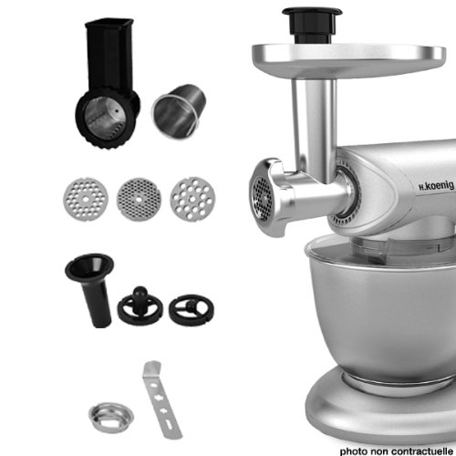 H.Koenig AC8 - Juego de accesorios para robot de cocina multifunción KM80S, color plateado 80137