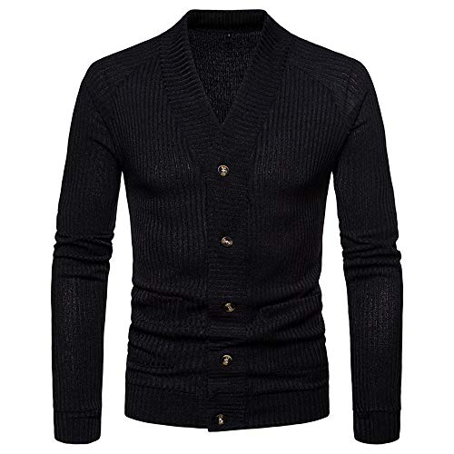 Muranba Clearance Men V Neck Button Knit Sweater Cardigan Coat (US: XS/Tag : S, Black C)