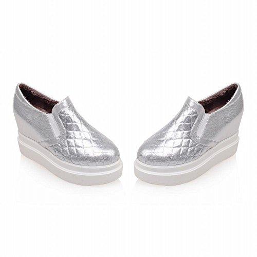 Mee Shoes Damen modern bequem populär tief Mund plaid mit Samt Gummiband invisible Heel Durchgängiges Plateau Pumps Silber