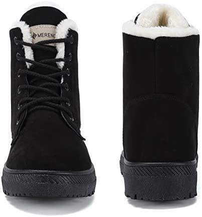 Women's Snow Boots Winter Waterproof II Ankle Boots Suede/Lace Up Cotton Warm Fur Lined Anti-Slip Platform Booties Outdoor