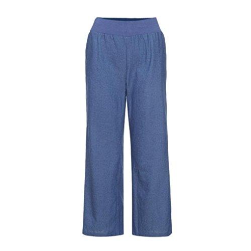 3a869f8d806 Hmlai Women Plus Size Leggings Elastic High Waist Wash Denim Pants Wide Leg  Palazzo Jeans Trousers