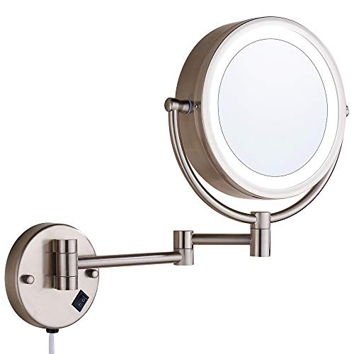Brush Nickel Wall Mount - Cavoli Wall Mounted Makeup Mirror with LED Lighted 10x Magnification, 13