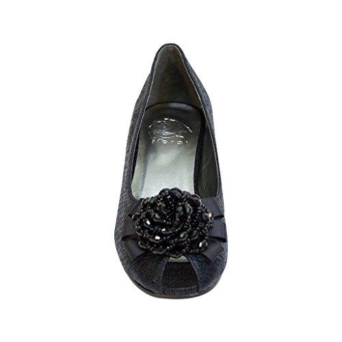 FIC FLORAL Allie Women Wide Width Peep Toe Dress Pump for Wedding, Prom, Dinner (Size/Measurement Guides) Black