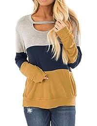 Women's Color Block Long Sleeves Tunic Cutout Choker Tops Crew Neck Casual Loose Blouses Cute Sweatshirts